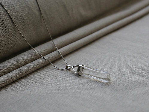 Clear Quartz  Silver Wire Necklace