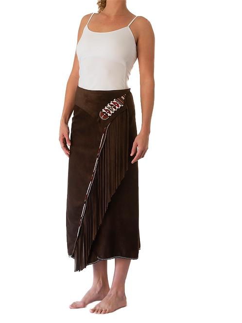 Long Skirt Wrap Dark Brown