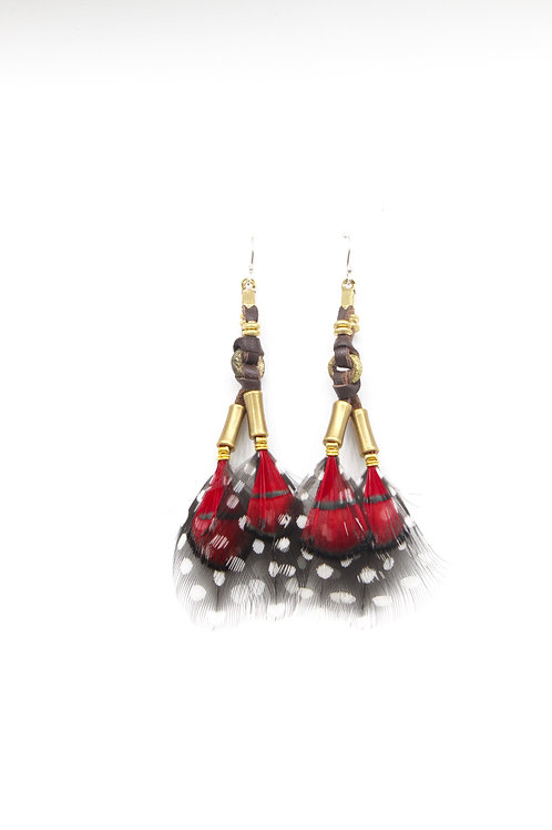 Short Earrings Mabawa Lady Amherst Red