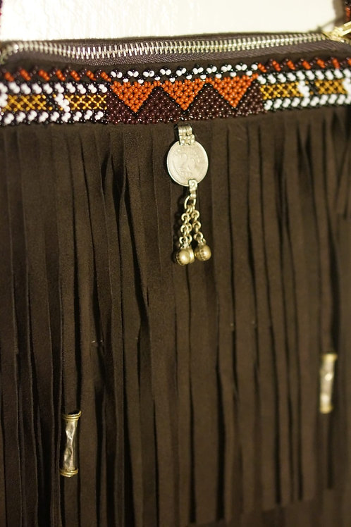 Fringe Bag Dark Brown Zig Zag