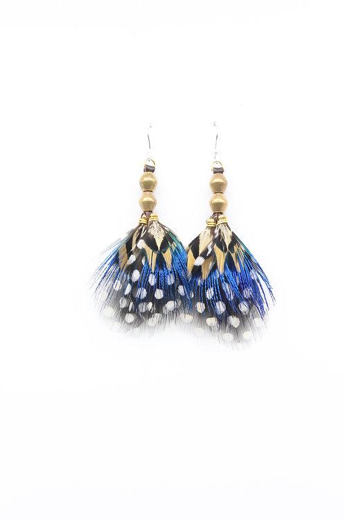 Short Earrings Peacock Mustard