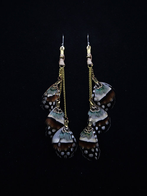 Short Earrings French Partridge Guinea Fowl