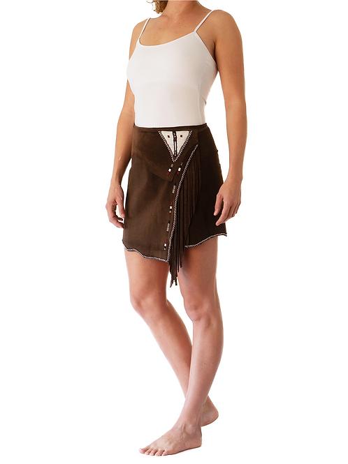 Mini Wrap Skirt Dark Brown