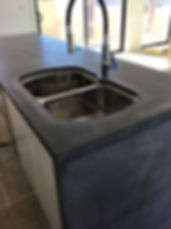 concrete living kitchen bench double bow