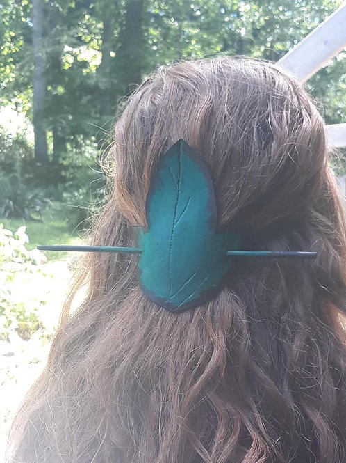 Green Leather Elven Hair Pin🍃