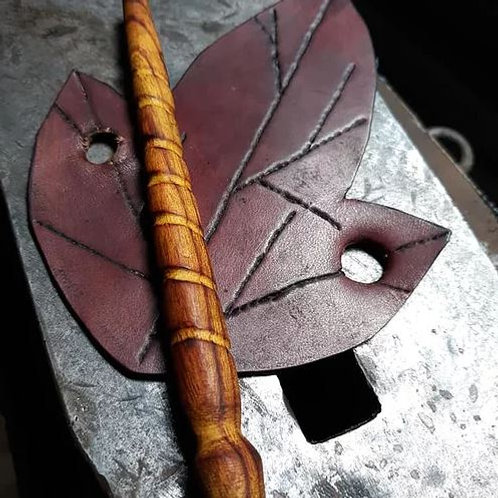 Leather Fall Leaf With Wooden Hand Filed Osage Orange Pin