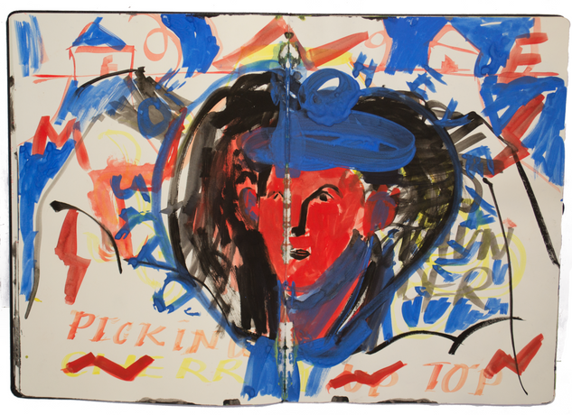 Picking Top, 25x40cm gouache on paper