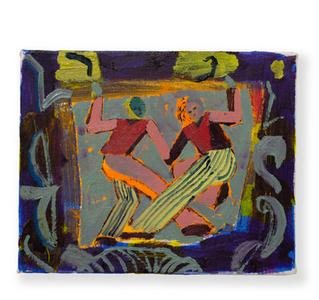 Two (orange) Dancers, 25x30cm oil on canvas