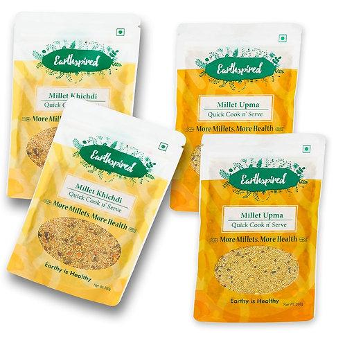 Earthspired Instant Millet Upma & Khichdi Pack Of 4 (Four)  - 800 gm