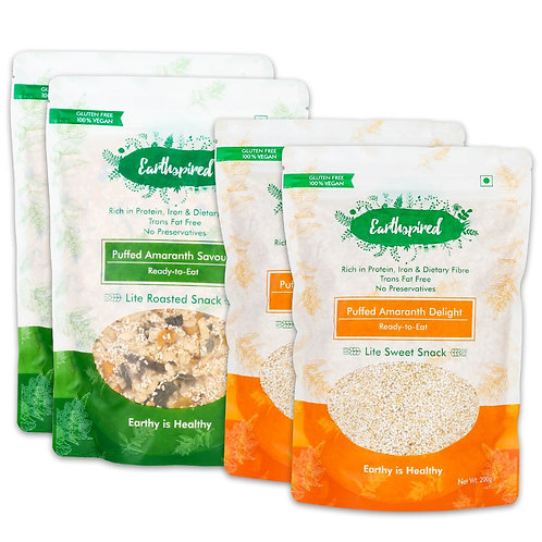 Earthspired Puffed Amaranth Savory & Sweet Delight Snack 800 gm - Pack of 4