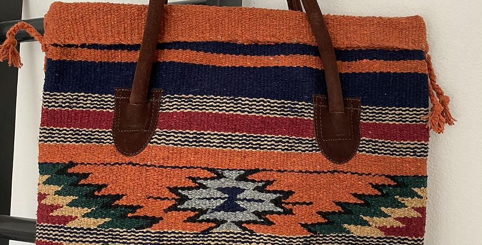 Tribal Snap Top Tote // Rust