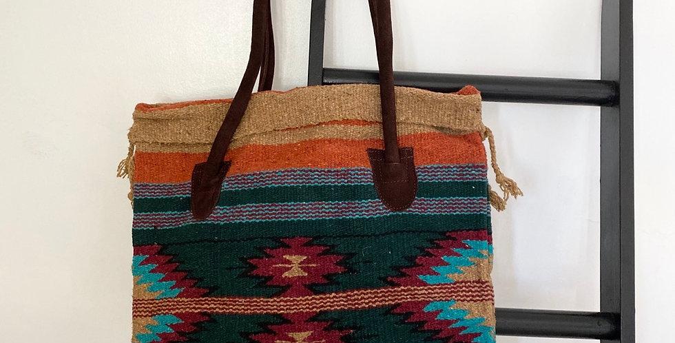Tribal Tote Bag // Emerald + Burgundy