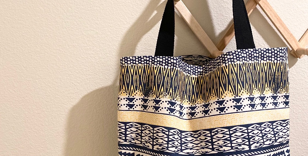 Tote // Navy + Yellow Tribal