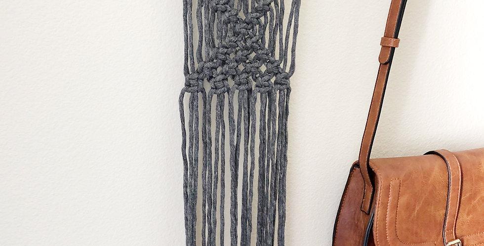 Dark Gray Macrame Wall Hanging // Medium