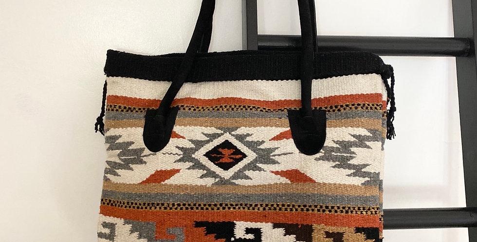 Tribal Snap Top Tote Bag // White