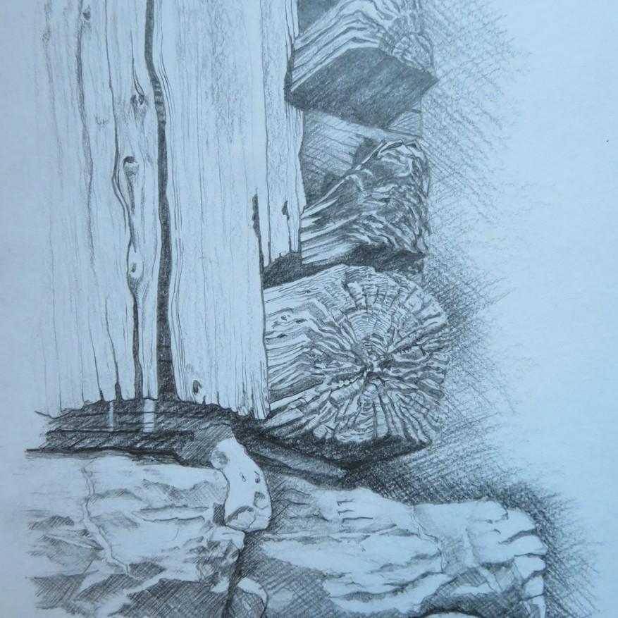 Gwätti an Alphütte                         Bleistift, 30 x 40, 2020