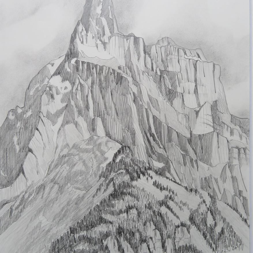 Mürtschenstock und Fulen, GL                   Bleistift, 42 x 60, 2020