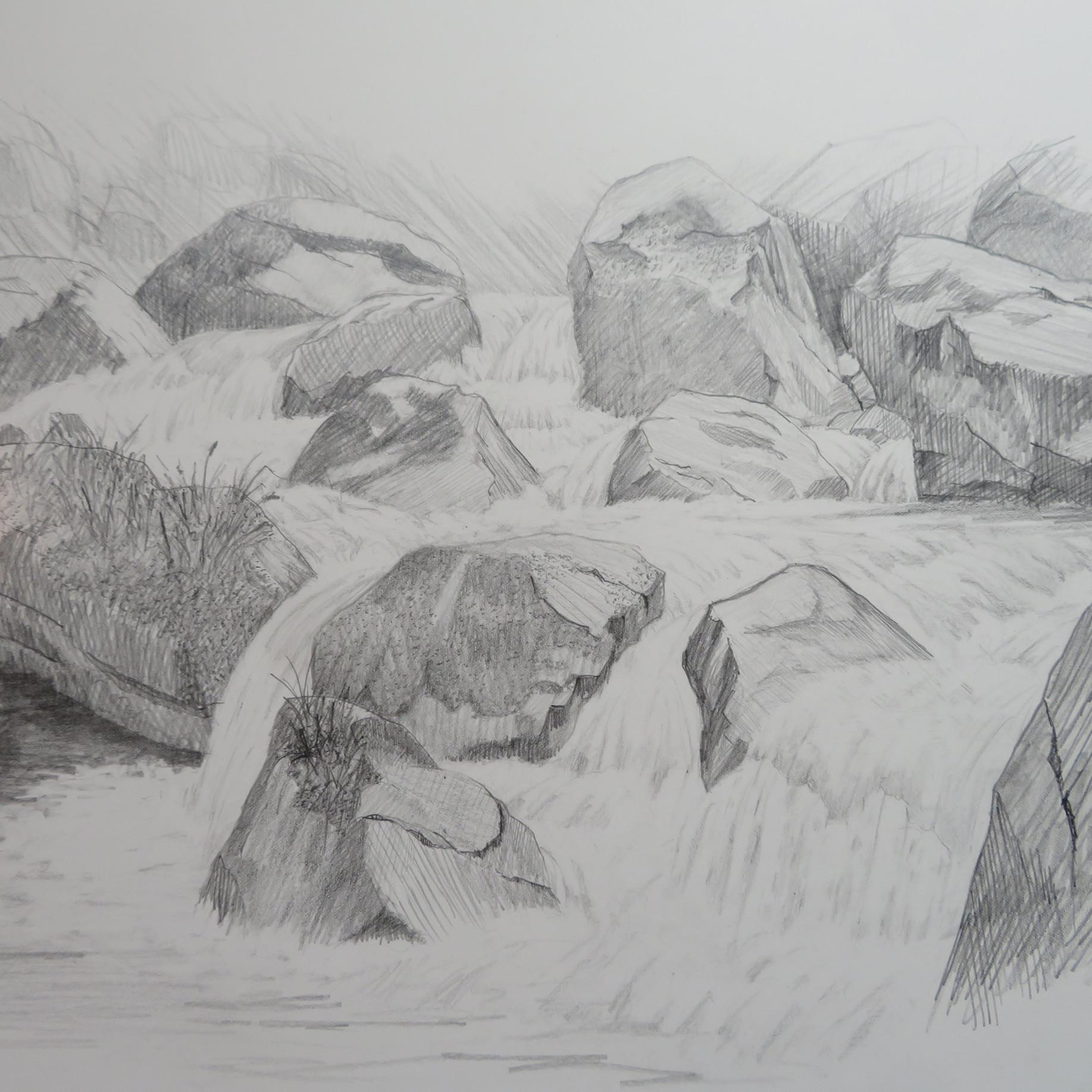 Am Löntschbach, GL                         Bleistift, 40 x 50, 2020