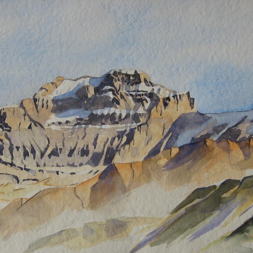 Panorama Clariden, Chammlistock, Scherhorn, UR                                                      Aquarell, 40 x 70, 2019