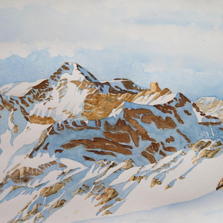 Hausstock im Winter, GL                        Aquarell, 42 x 60, 2020