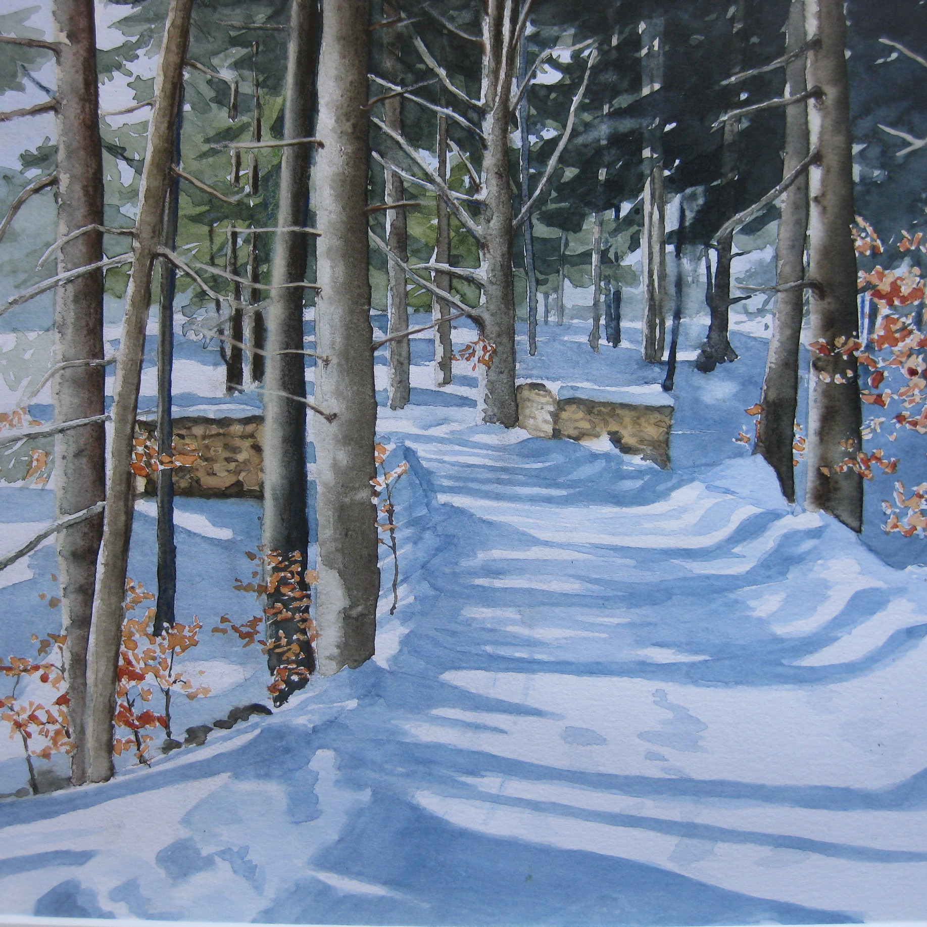 Waldweg im Winter, Allgäu                 Aquarell, 42 x 60, 2019