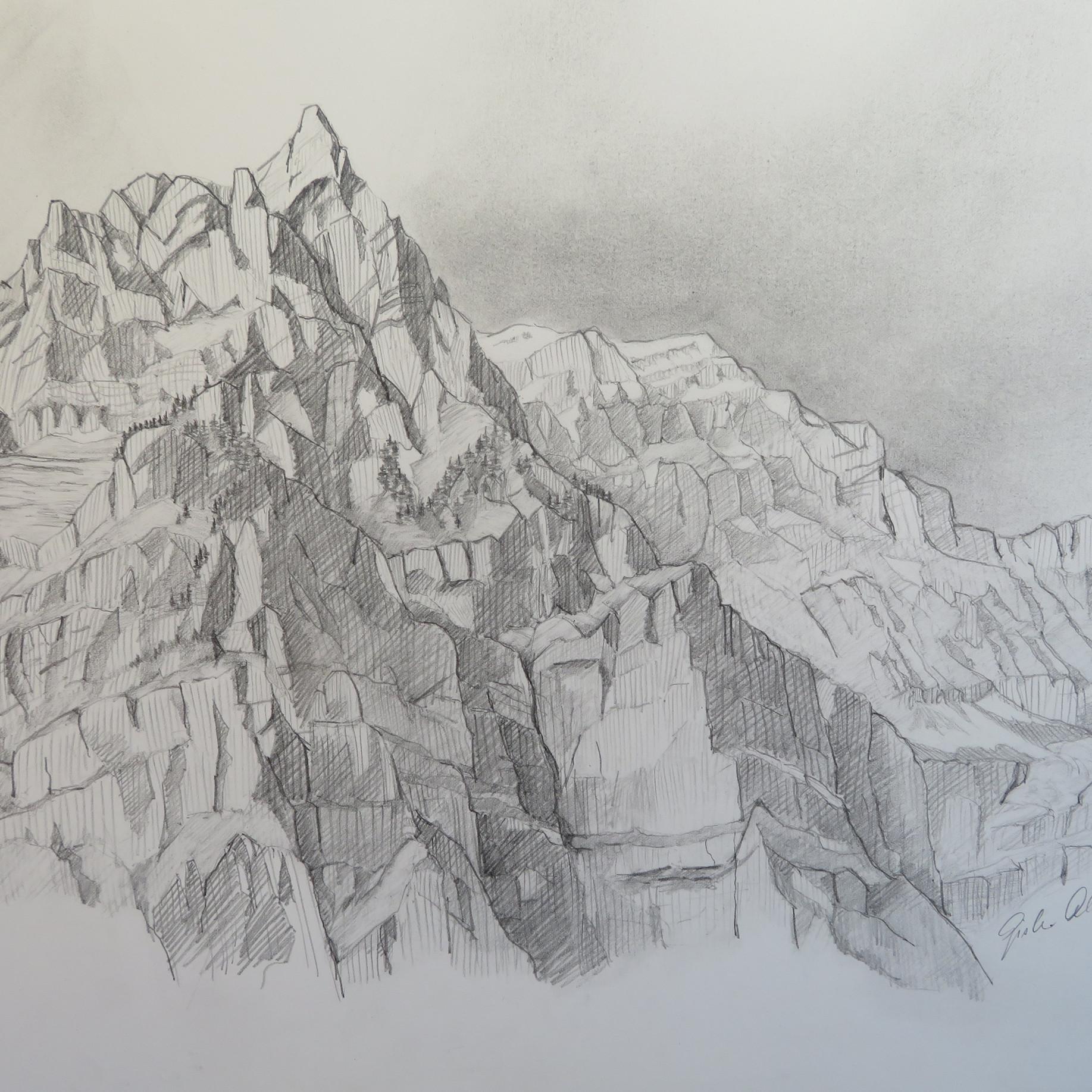 Wiggis und Rautispitz, GL                                         Bleistift, 42 x 60, 2020