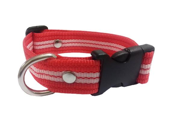 Collar rayado mediano rojo