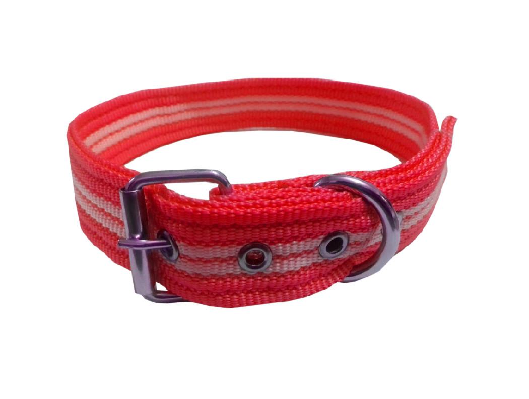 Collar rayado mediano con hebilla rojo
