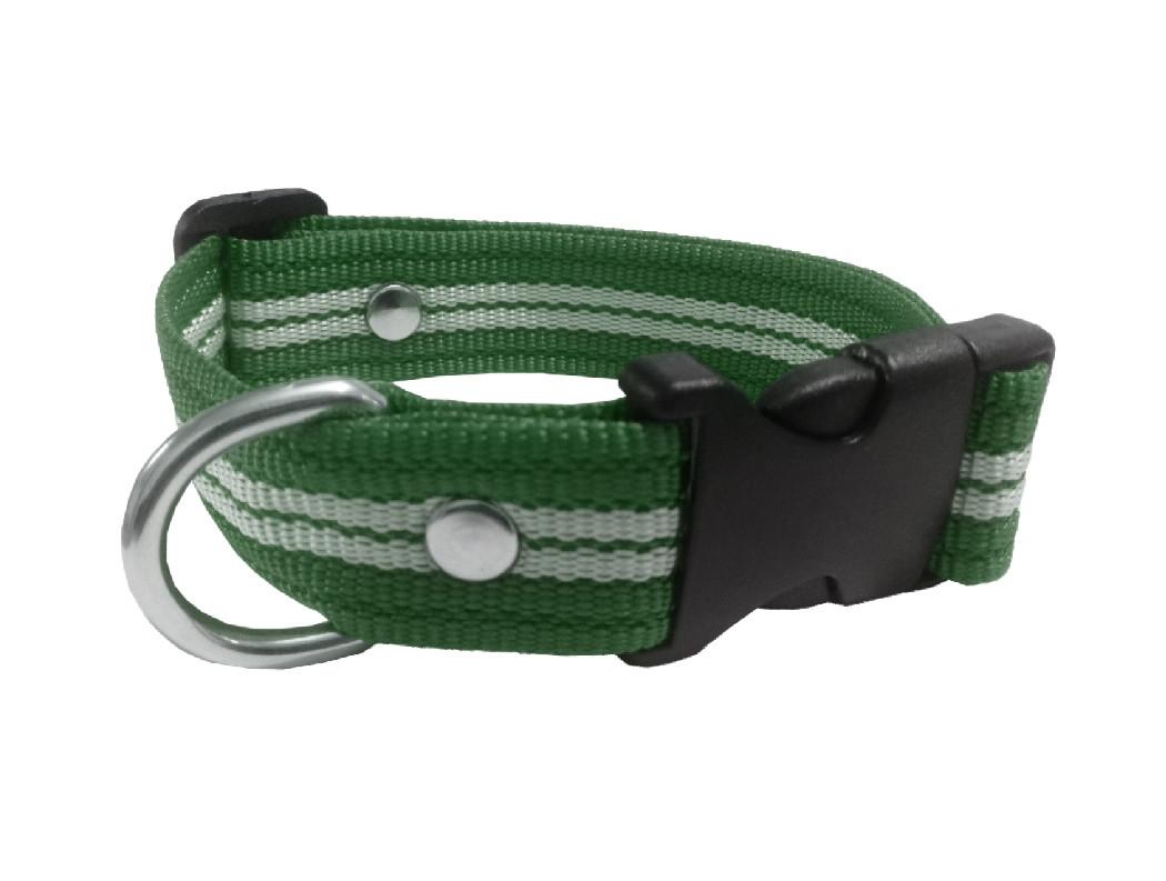 Collar rayado mediano verde militar