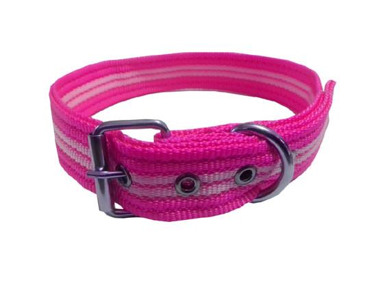 Collar rayado mediano con hebilla rosa