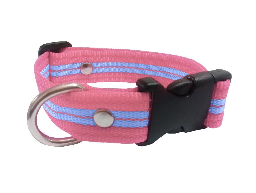 Collar rayado mediano rosa bebe con azul