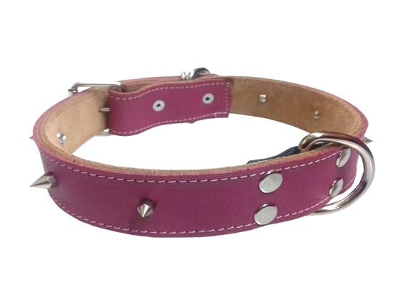 Collar pitbull con picos rosa