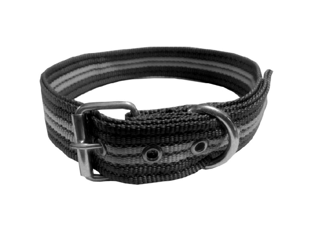 Collar rayado mediano con hebilla negro