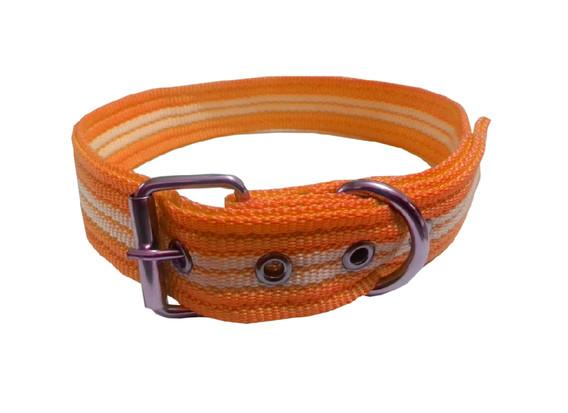 Collar rayado mediano con hebilla naranja