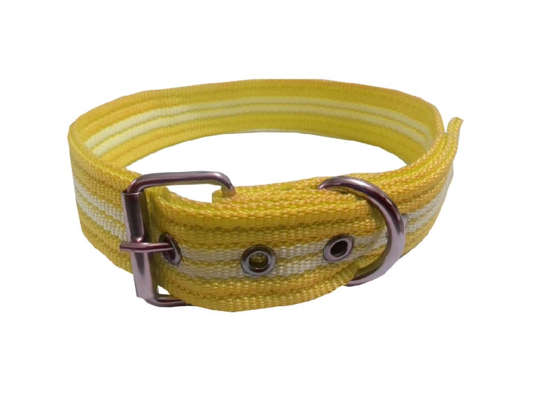 Collar rayado mediano con hebilla amarillo