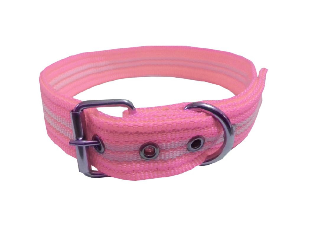 Collar rayado mediano con hebilla rosa pastel