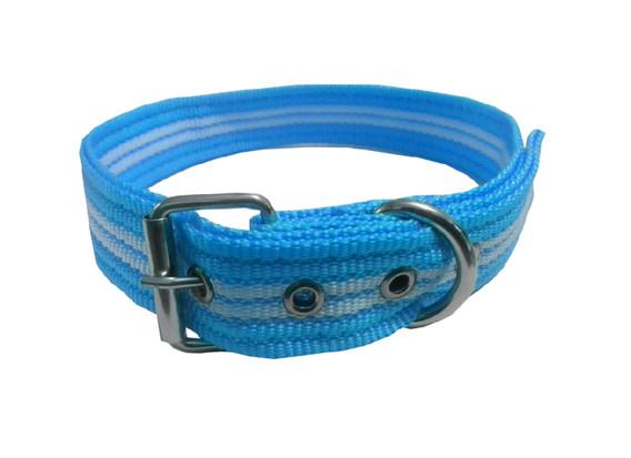 Collar rayado mediano con hebilla azul cielo