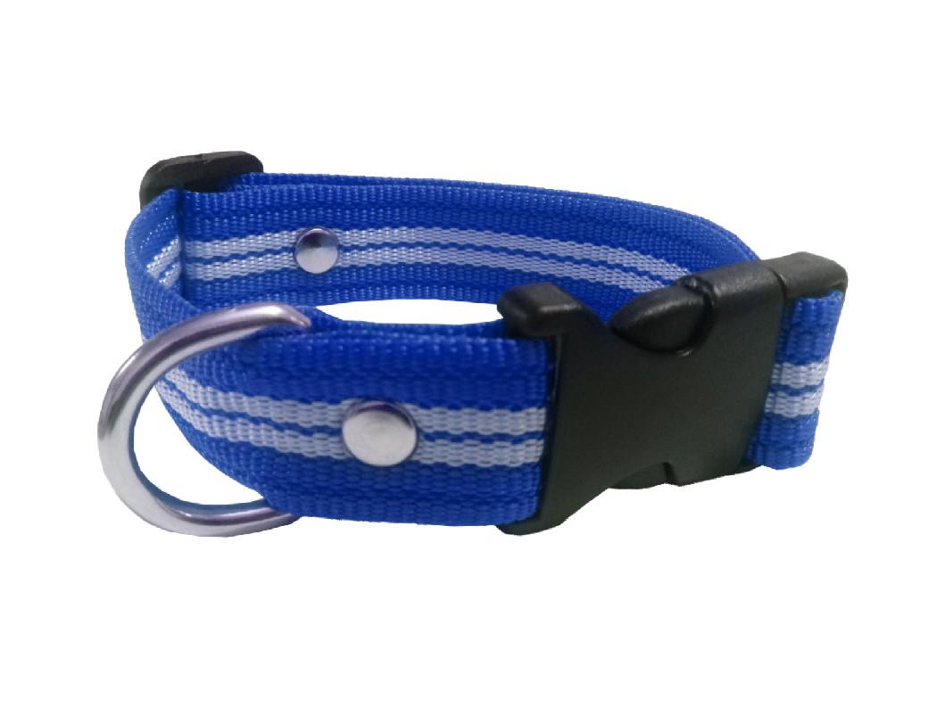 Collar rayado mediano azul