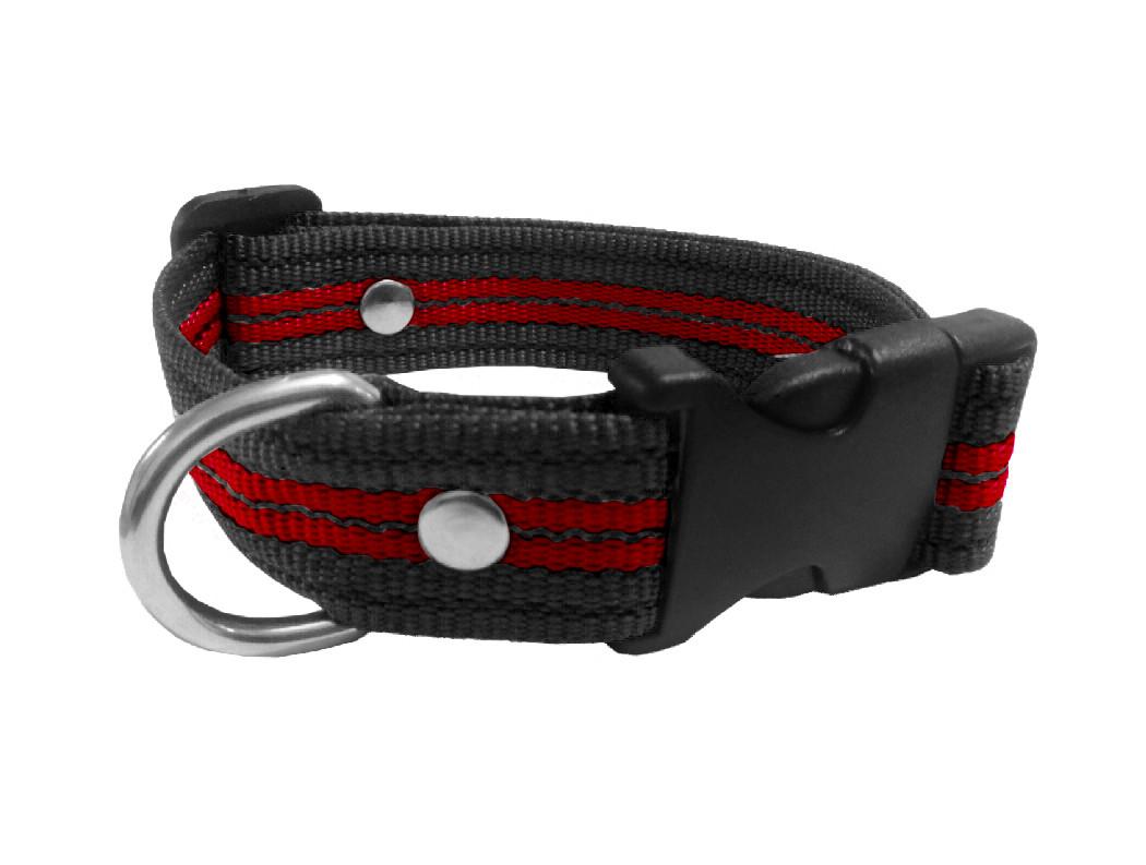 Collar rayado mediano negro con rojo