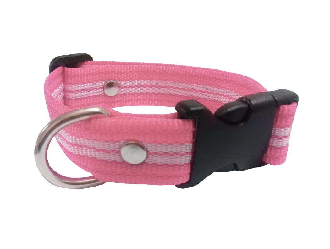 Collar rayado mediano rosa pastel
