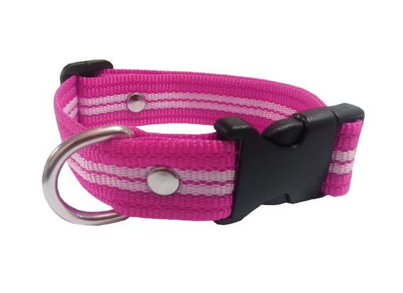 Collar rayado mediano rosa