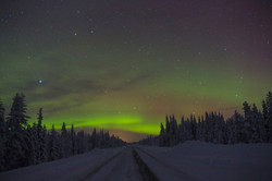 Northern light on the road