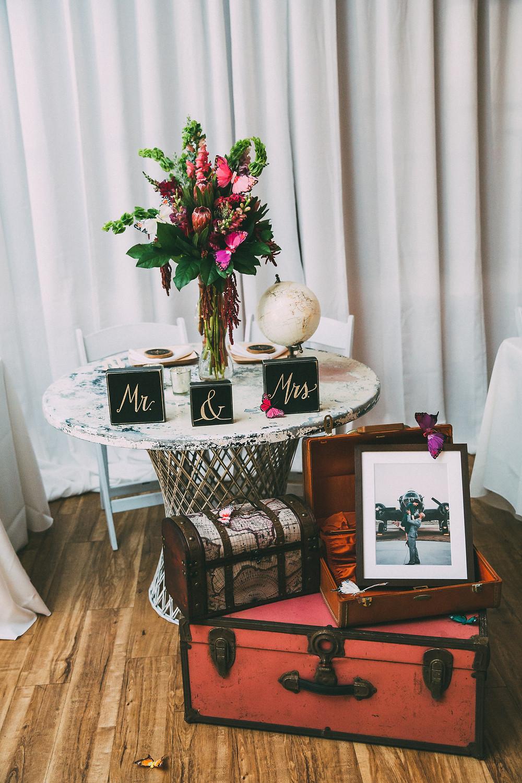 Sweetheart Table travel theme inspired wedding