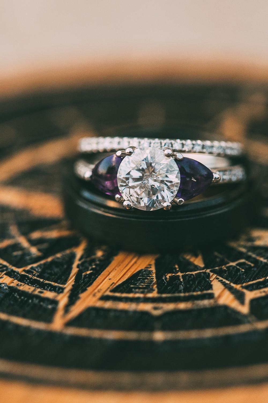purple engagement ring wedding band