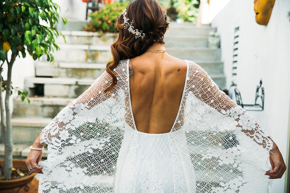 Cute Open Back wedding dress backless