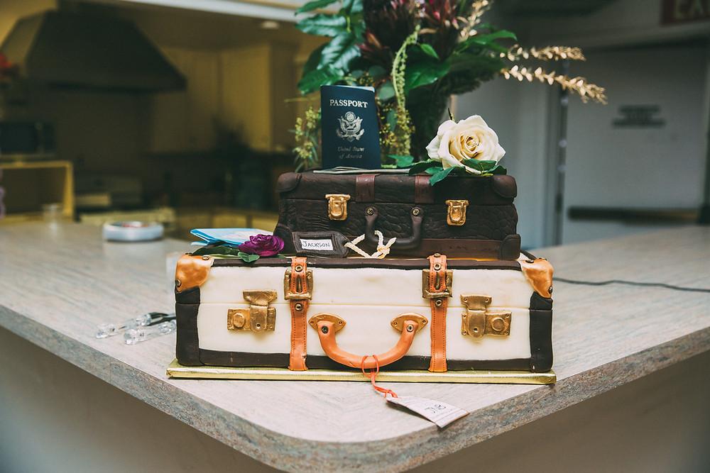 travel theme decor cake