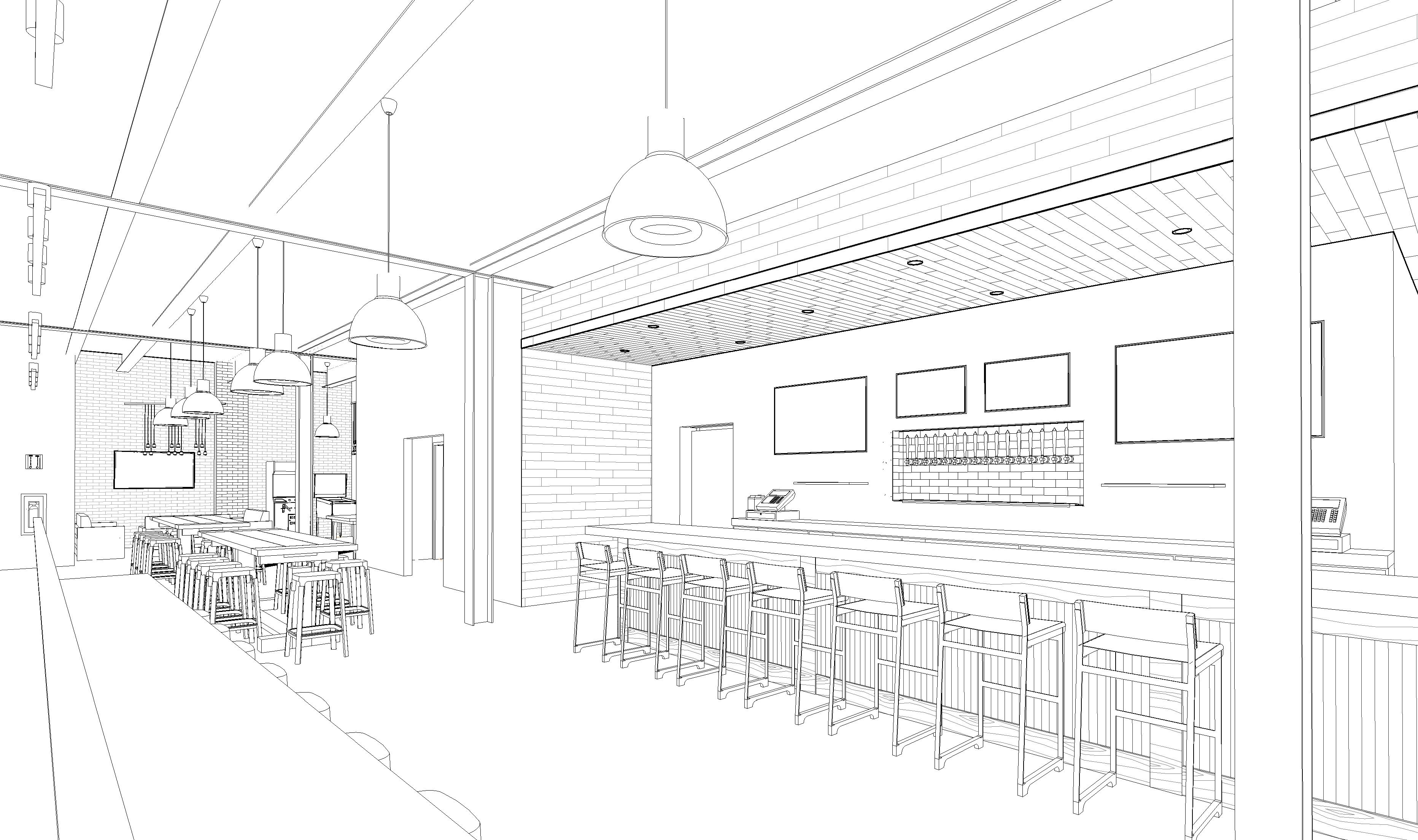 Close up of bar area