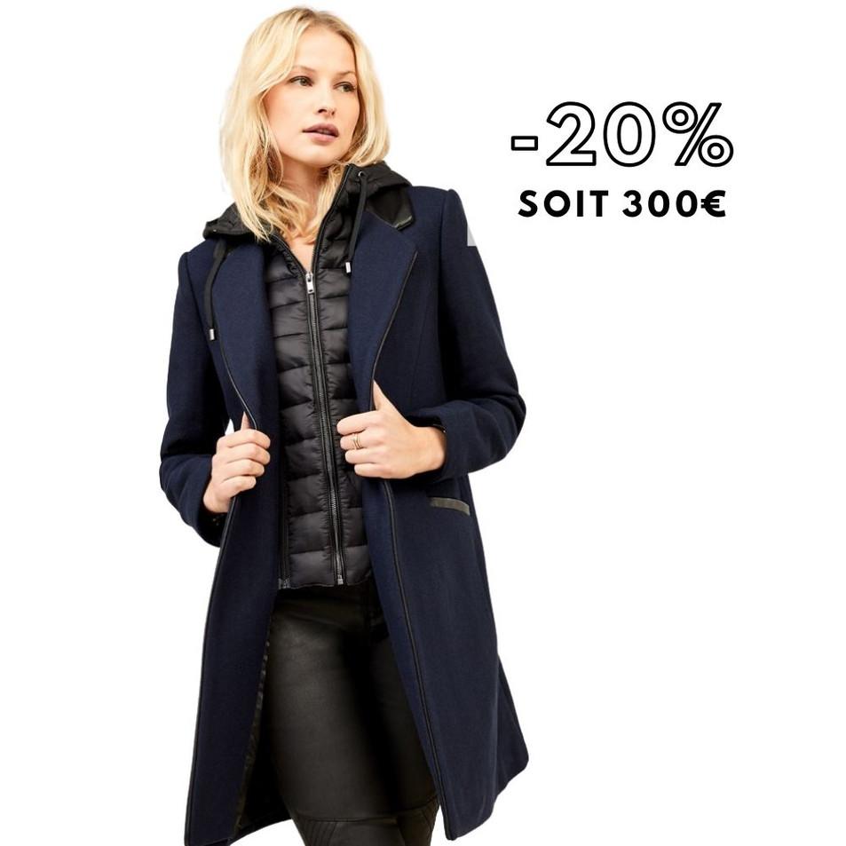 DIDA - Manteau mi-long marine avec parmenture amovible