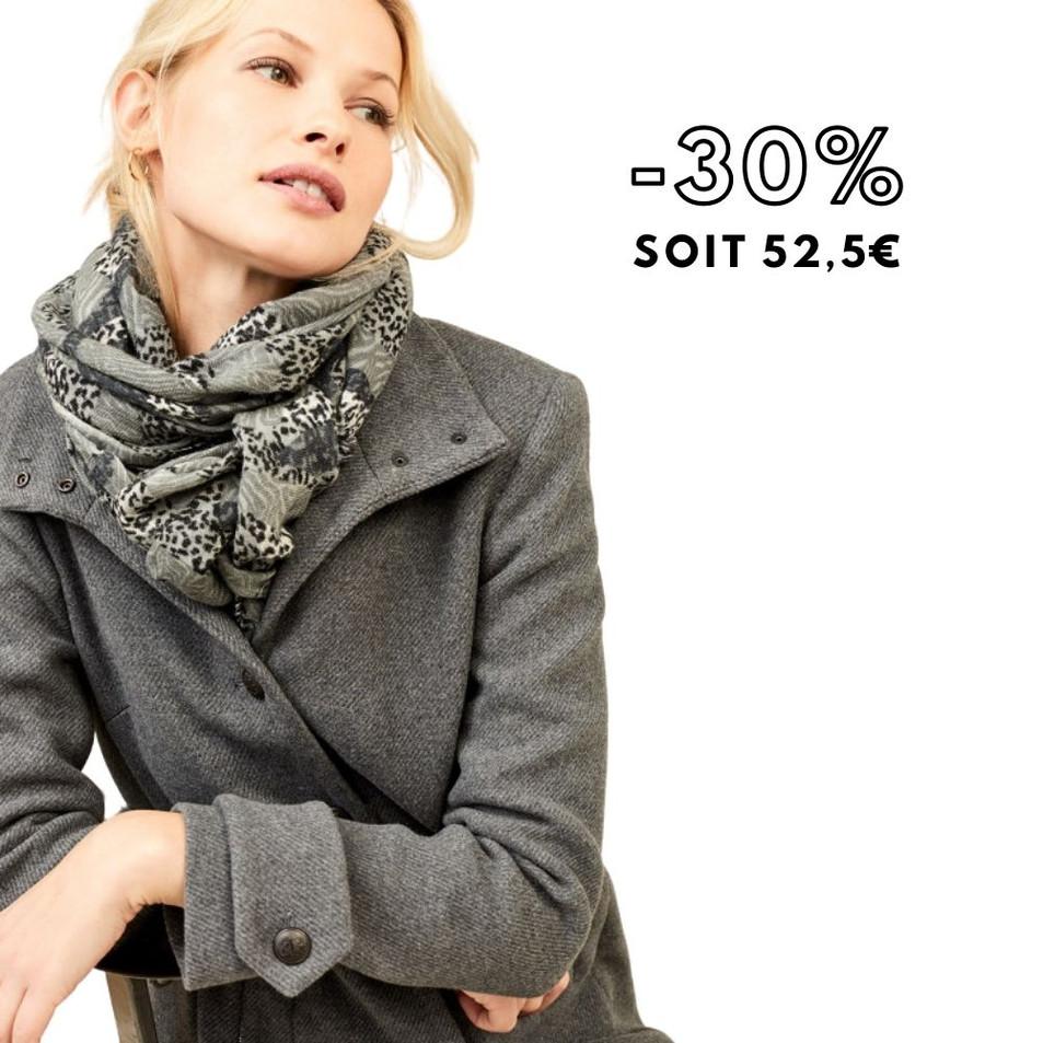 ALBINA - Foulard medium grey à imprimé floral