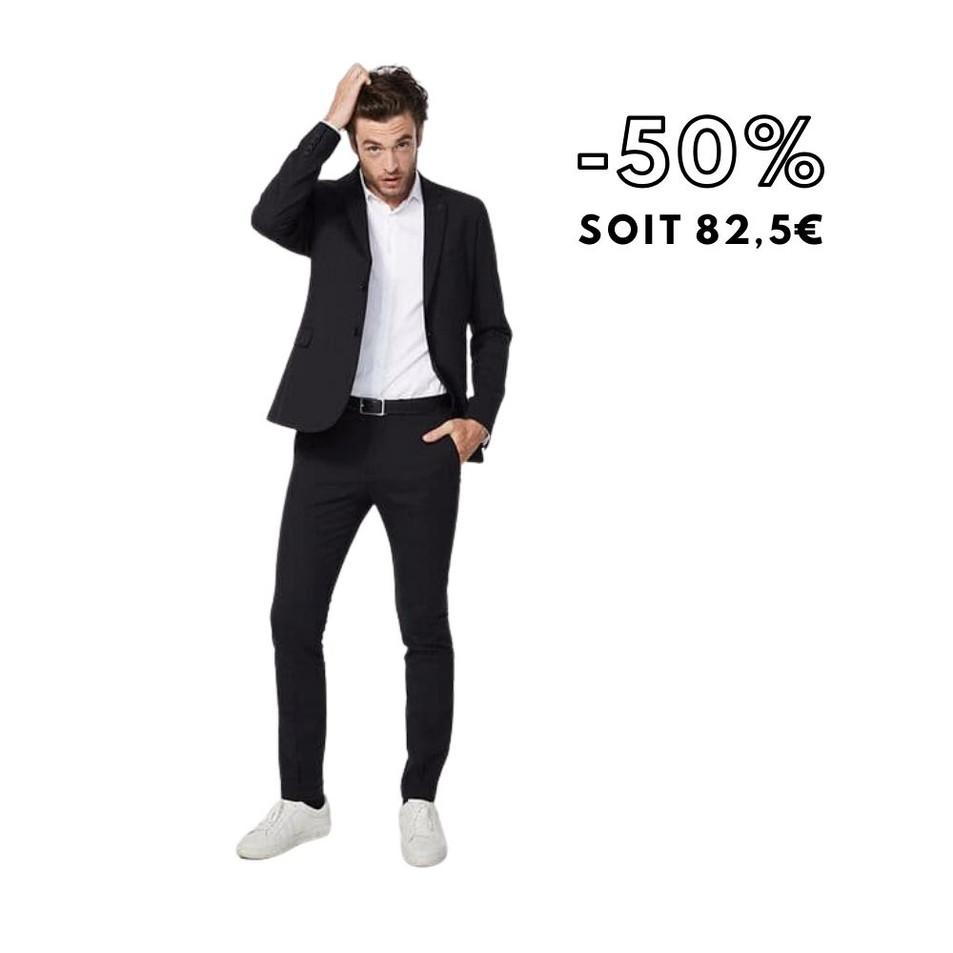 Pantalon de costume noir lin mélangé Homme